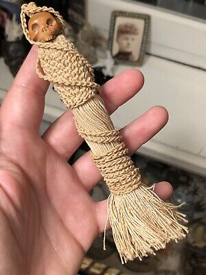 Antique 19th Century Sailor's Knot Work Tassel with Carved Skull Bead Top