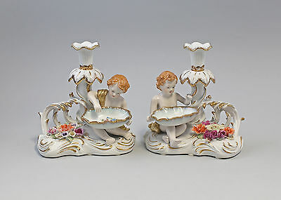 9987237 Pair Porcelain Chandelier Candle Putto Bowl Beautiful 7 1/8x8 5/16in