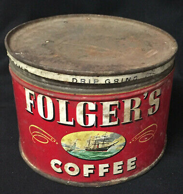 Vintage 1946 Folgers Coffee Metal Can A20