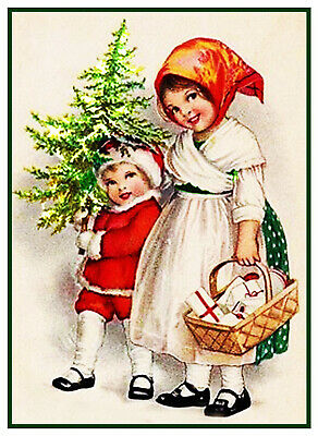 Victorian Christmas Scene # 801 Snowman Elf Gnome Counted Cross Stitch Pattern