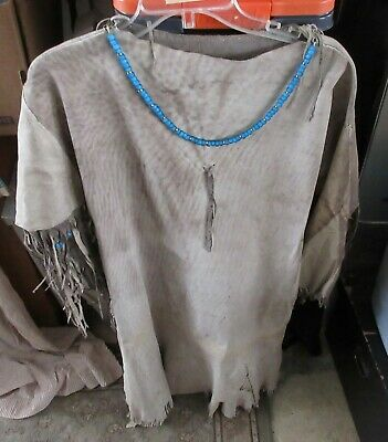 Great Vintage Native American Indian  Dress Made Of Leather With Beads