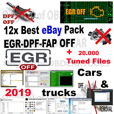 Best 2019 pack 12x EGR DPF FAP OFF Softwares Cars & Trucks + TUNED FILES