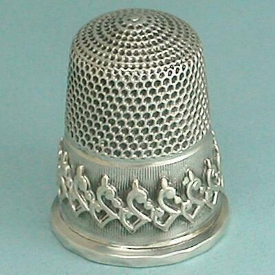 Antique English Sterling Silver Applied Band Thimble * Circa 1860s