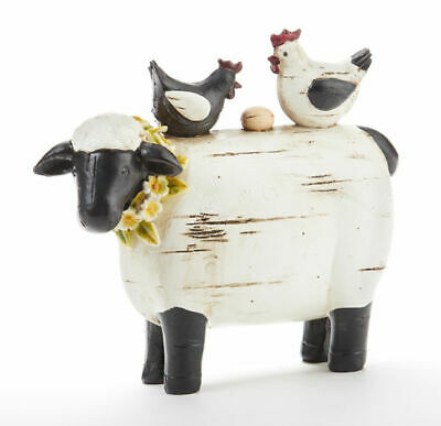 New Primitive Country SHEEP CHICKEN FIGURE Rooster Stacked Farm Animal Figurine