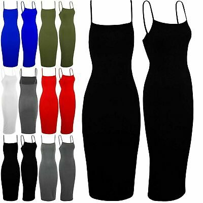 Womens Plain Cami Sleeveless Ladies Strappy Summer Bodycon Stretchy Midi Dress