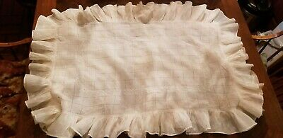Antique Drawn Work Floral Embroidered Ruffled Ex Large Ruffled Pillow Sham Cover