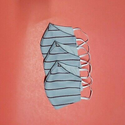 Pack of 3 reusable washable face mask with 2 sides gray-red stripes & gray.