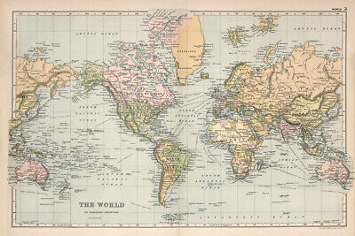 "18x12/"" Beautiful Vintage Old World Map 1891 CANVAS PRINT Poster"