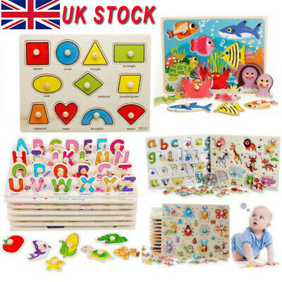 Wooden Puzzle Baby Kids Jigsaw Alphabet Letters Animal Toddler DIY Learning Toys