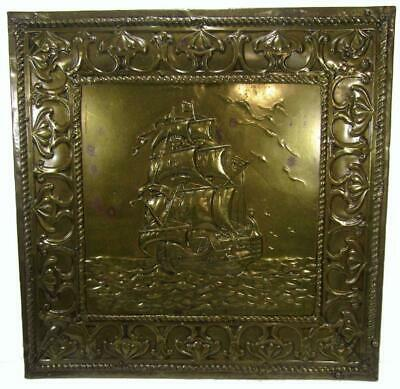 Antique Victorian Brass Galleon Men of War Ship Repousse Wall Hanging 46 x 45 cm