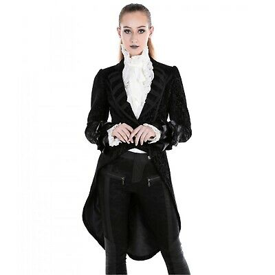 Pentagramme Long Double Breasted Velvet /& Lace Gothic Coat M070022