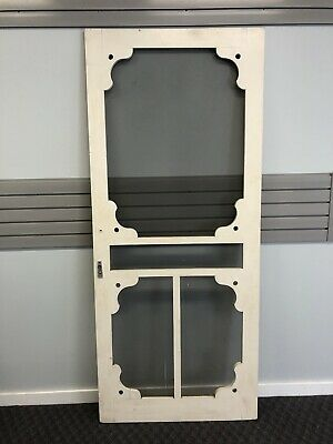 Vintage WOOD SCREEN DOOR wooden white country rustic architectural salvage porch