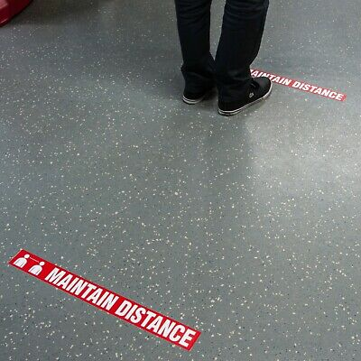 """Incom Worded Message Floor Safety Tape Maintain Social Distance Sign 2.25"""" x 54'"""