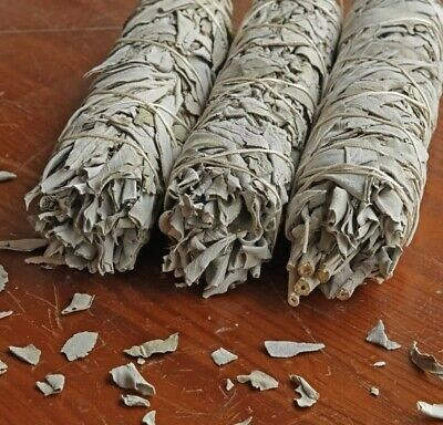 "5X California White Sage Smudge Sticks / Wands 4 - 5 "" Negativity Removal"