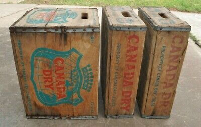 Lot of 3 Vintage Canada Dry Wood Crates