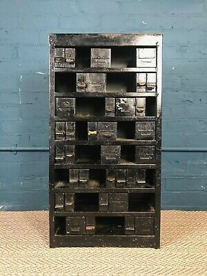 Rustic Antique Metal Industrial Collectors Chest of Drawers Vintage Haberdashery
