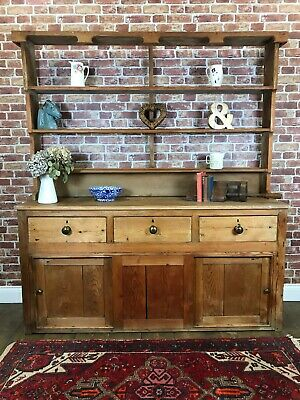 Antique Rustic Pine Wall Unit Farmhouse Plate Rack Cupboard Haberdashery Cabinet