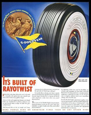 1938 Goodyear Double Eagle whitewall tire big color vintage print ad