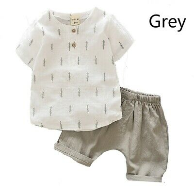 1X Set Baby Infant Toddler T-Shirts Shorts Pants Linen Short Sleeve Kids Outfits
