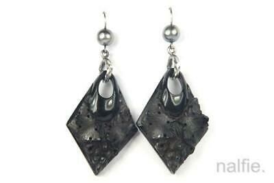 ANTIQUE VICTORIAN ENGLISH SILVER CARVED WHITBY JET VINE & GRAPES EARRINGS c1880