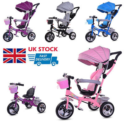 Baby Kids Trike Pedal Tricycle Toddlers Ride on 3 Wheels Bike Removable Push Bar