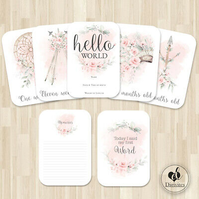 Baby Girl Milestone Cards, Floral Boho Tribal Photo props, 40 cards, 250gsm