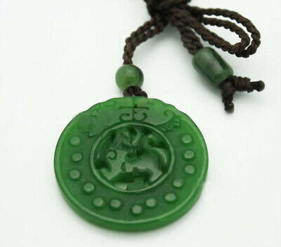 Round Carved Genuine Natural Green Nephrite Jade Pendant Cord Necklace