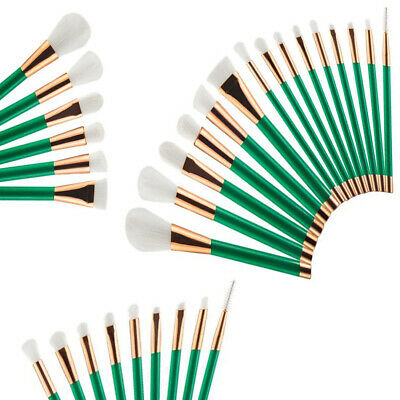 Makeup brush Set 15pcs Face Powder Blusher Green White Make up Brushes
