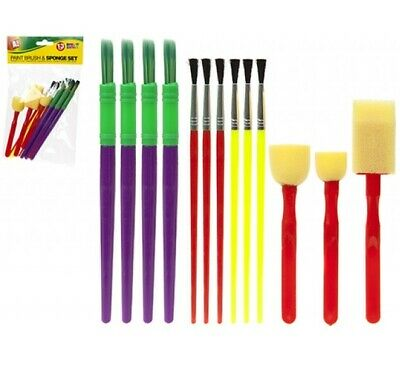 13x Kids Paint Brushes Painting Brush Children Art Box Tool Set Sponge Pad Craft