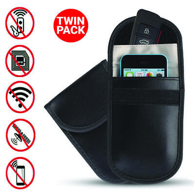 2x Car Key Signal Blocker Case Faraday Cage Pouch Fob Keyless RFID Blocking Bag