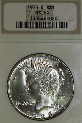 NGC 1923 D MS 64 (Mint Sate) 90% Silver Peace Dollar (333546-024)