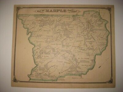 Antique 1875 Marple Township Broomall Delaware County Pennsylvania Handcolor Map