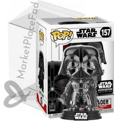 Funko POP! Star Wars Smuggler's Bounty #157 Black Chrome Darth Vader W/Protector