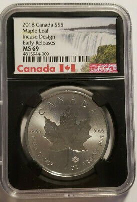 2018 Canada 1 oz .999 Silver Maple Leaf / Incuse $5 Coin NGC MS69 First Releases