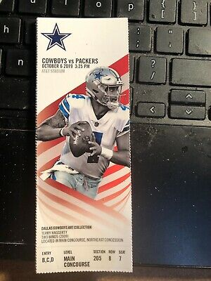 2019 Dallas Cowboys Vs Green Bay Packers NFL Ticket Stub 10/6