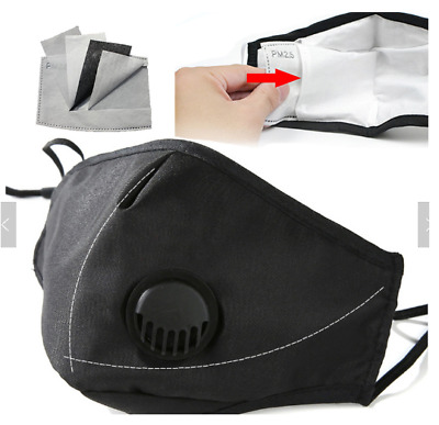 Grey Black Pink Cycling Anti Pollution Face Mask With Valve And PM Filters x2