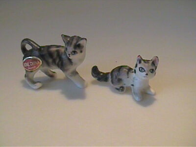 Two Vintage 1960'S Miniature Bone China Gray Tabby Kittens - Japan