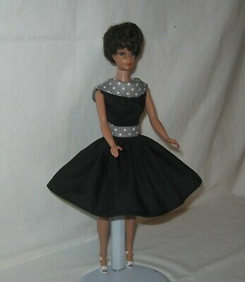 Gray Dots Collar /& Belt FOR Doll Handmade SHORT Black Dress