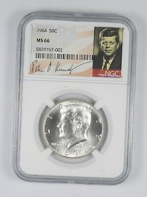 MS66 1964 Kennedy Half Dollar Silver Graded NGC Special Label
