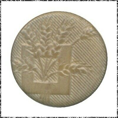 Vintage Vegetable Ivory Button w/ Pressed Wheat Design, Small, Dyed Tan
