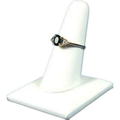 White Faux Leather Ring Finger Showcase Countertop Jewelry Displays Kit 36 Pcs
