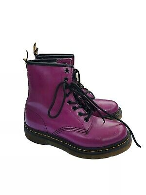 Purple Fuchsia Dr. Martens Size 6/ EU37 Smooth Leather Boots Lace Up Unisex 1460