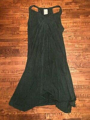 Anthropologie Dolan Brand Dark Jade Green Swing Dress Soft MSRP $175 Large L