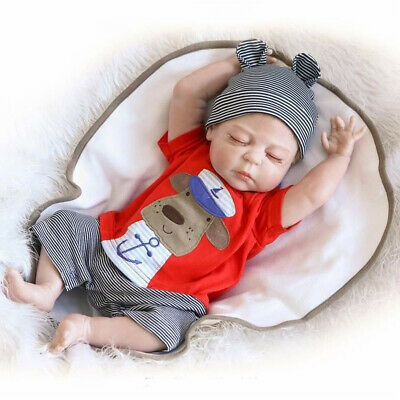22'' Reborn Baby Boy Doll Realistic Handmade Full Body Silicone Lifelike Toy Boy