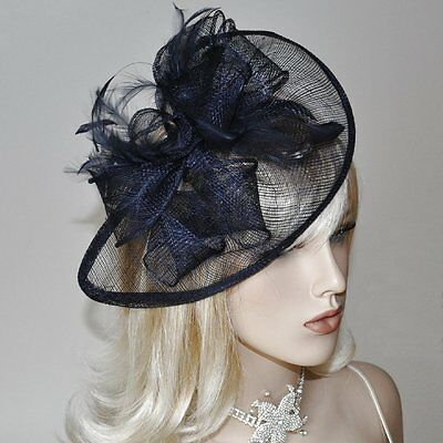 Fascinator on Headband Headdress Wedding Hat Hair Accessories Dark Blue Navy