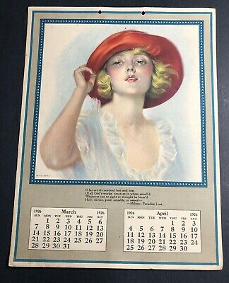 1 Page Of 1926 Flapper Girl Calendar Pretty Pin Up Girl