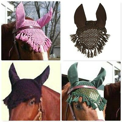 Rhinegold Horse Fly Veil Noise Muffler Insect Protection Ear Bonnet Knitted