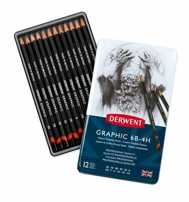 Derwent Graphic 6B-4H Pencils 12 Tin Professional Quality-Drawing&Sketching *New