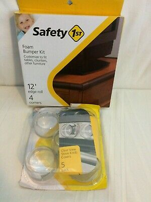 Safety 1st Foam Bumper Kit + Clear View Stove Knob Covers 5 Count NIP