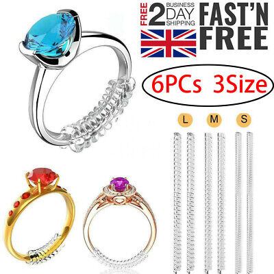 6pcs Ring Size Reducer Resizer Adjuster Clip Guard SNUGS Spiral Invisible Design